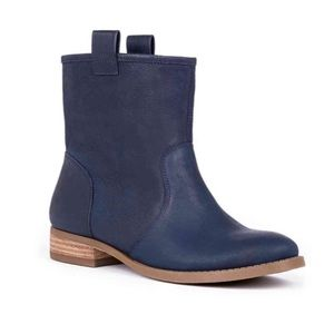 Sole Society Natasha Ankle Boots Navy Blue Bootie